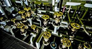 Ships valves, main engine - engineering interior. Royalty Free Stock Image