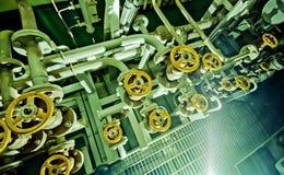 Ships valves, main engine - engineering interior. Royalty Free Stock Photo