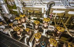 Ships valves, main engine Stock Photos