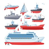 Ships vector boats or cruise travelling in ocean or sea and shipping transportation illustration marine set of nautical Stock Photos
