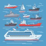 Ships vector boats or cruise travelling in ocean or sea and shipping transportation illustration marine set of nautical Royalty Free Stock Photos