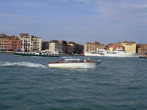 Ships in Venice. Motorboat on sea in Venice royalty free stock photos