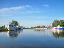 Ships in village Minge, Lithuania Royalty Free Stock Photography