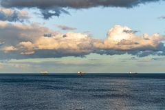 Ships waiting on the North Sea Coast. In Whitley Bay, Tyne And Wear, England, UK stock image