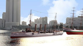Ships in waterfront at daylight closeup Royalty Free Stock Image