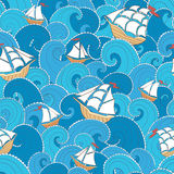 Ships and waves pattern Royalty Free Stock Photos