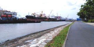 Ships at West Coast Park. Ships docked along the coast at West Coast Park in Singapore stock photography