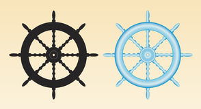 Ships wheel. Ship's wheel in black and in blue/white gradient Stock Photos