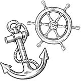 Ships wheel and anchor drawing Stock Photos