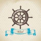 Ships wheel. Hand drawn illustration Royalty Free Stock Photos