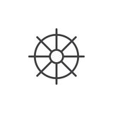 Ships wheel, helm line icon, outline vector sign, linear style pictogram isolated on white. Royalty Free Stock Photos