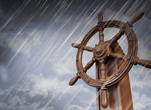 Ships wheel, storm Royalty Free Stock Photo