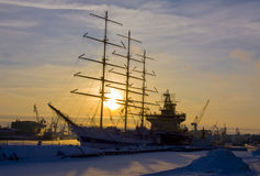 Ships in winter, St. Petersburg Stock Image