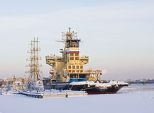 Ships in winter, St. Petersburg Royalty Free Stock Photography