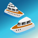 Ships yachts boats  isometric icons set  vector illustration Royalty Free Stock Photos