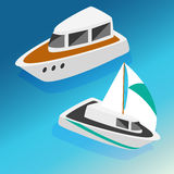 Ships yachts boats  isometric icons set  vector illustration Stock Image