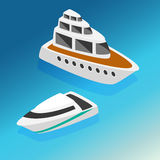 Ships yachts boats  isometric icons set  vector illustration Stock Photo