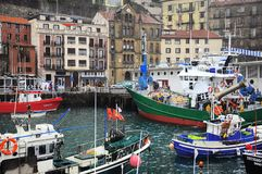 Ships and yachts by the coast of San Sebastian. Stock Photography