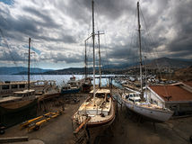 Ships and yachts of Greece. Beauty of Crete Royalty Free Stock Images