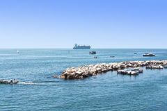 The ships and yachts on the Ionian sea landscape Stock Images