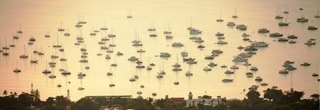 Ships Yachts Phuket Harbor. Many ships and yachts in the  Phuket harbor, Thailand Stock Photo