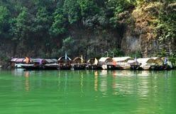 Ships on Yangtze Small Three Gorges At Wushan China Stock Photography