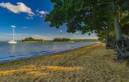Shipstal beach, Dorset with views across harbour to the islands. Golden sands border the Arne Heathland, Dorset with views across the harbour waters to the Royalty Free Stock Images