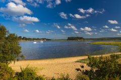 Shipstal beach, Dorset with views across harbour to the islands. Golden sands border the Arne Heathland, Dorset with views across the harbour waters to the Royalty Free Stock Image