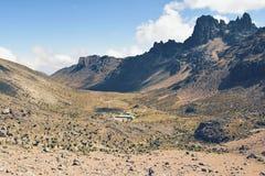 Shipton& x27; s-läger, Mount Kenya nationalpark Arkivfoton