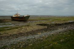 Shipwreack på den Walney ön Royaltyfria Foton