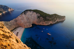 The Shipwreck. Shot taken at sunset over the famous Navagio ( Shipwreck ) Beach in Zakynthos, Greece Royalty Free Stock Photography