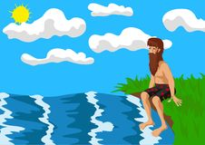 Shipwreck. Man shipwrecked on a desert island looks longingly into the sea Royalty Free Stock Images