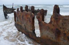 Shipwreck. On a Beach, Moffat Beach, Sunshine Coast, Australia Royalty Free Stock Images