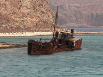 Shipwreck. Near the Gramvousa Island in Greece Royalty Free Stock Image