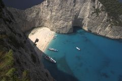 Shipwreck. Stranded shipwreck at the Greek island of Zakynthos stock images