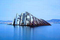 Shipwreck. Abandoned shipwreck in the seaside of Eleusina Greece Stock Image