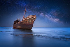 Shipwreck. Abandoned shipwhreck in Gytheio Greece Royalty Free Stock Photography