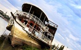 Shipwreck. Abandoned at the shore of Sava river in Belgrade Stock Photos