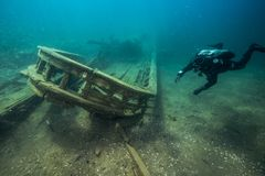 Free Shipwreck Alice G. In Tobermory Canada Royalty Free Stock Photos - 162205578
