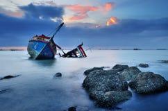 Shipwreck in Ang Sila, Chonburi, Thailand Royalty Free Stock Image