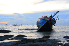 Shipwreck in Angsila Chonburi, Thailand Royalty Free Stock Photos