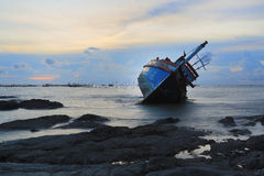 Shipwreck in Angsila Chonburi, Thailand Royalty Free Stock Image