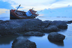 Shipwreck in Angsila Chonburi, Thailand Royalty Free Stock Images