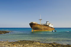 Shipwreck in Arrecife (Lanzarote) Royalty Free Stock Photos