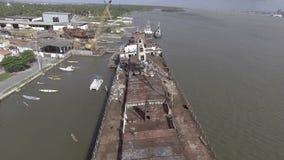 Shipwreck in Barra dos Coqueiros stock video footage