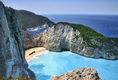 Shipwreck Bay. In Zakynthos Greece royalty free stock photography