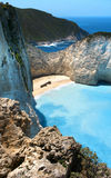 Shipwreck Bay. Famous shipwreck bay view on Zakynthos island Greece Ionian Sea stock photography