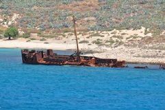Shipwreck in bay Balos, Greece Stock Photos
