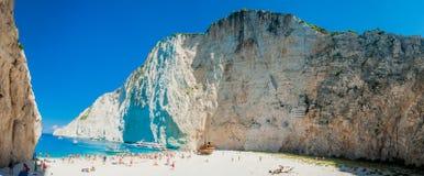 Shipwreck bay - Navagio beach - Zakynthos Greece. In the middle of season. Blue sea, white beach, moutains around Stock Photo