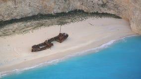Shipwreck Bay Navagio Beach, Zakynthos, Greece stock video footage